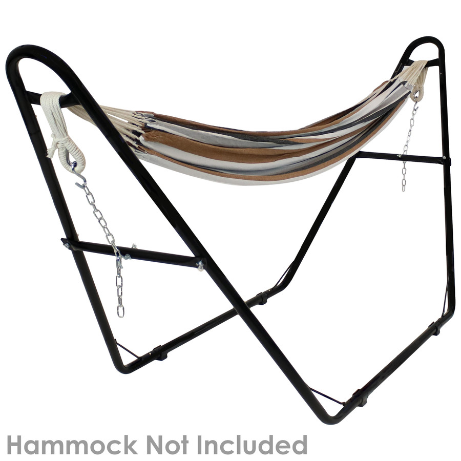 Black stand shown with a Brazilian hammock. Hammock not included.