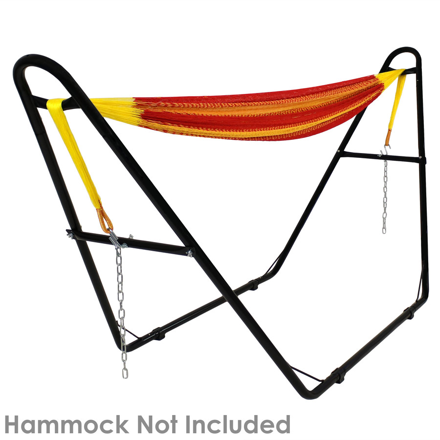 Black stand shown with a Mayan hammock. Hammock not included.