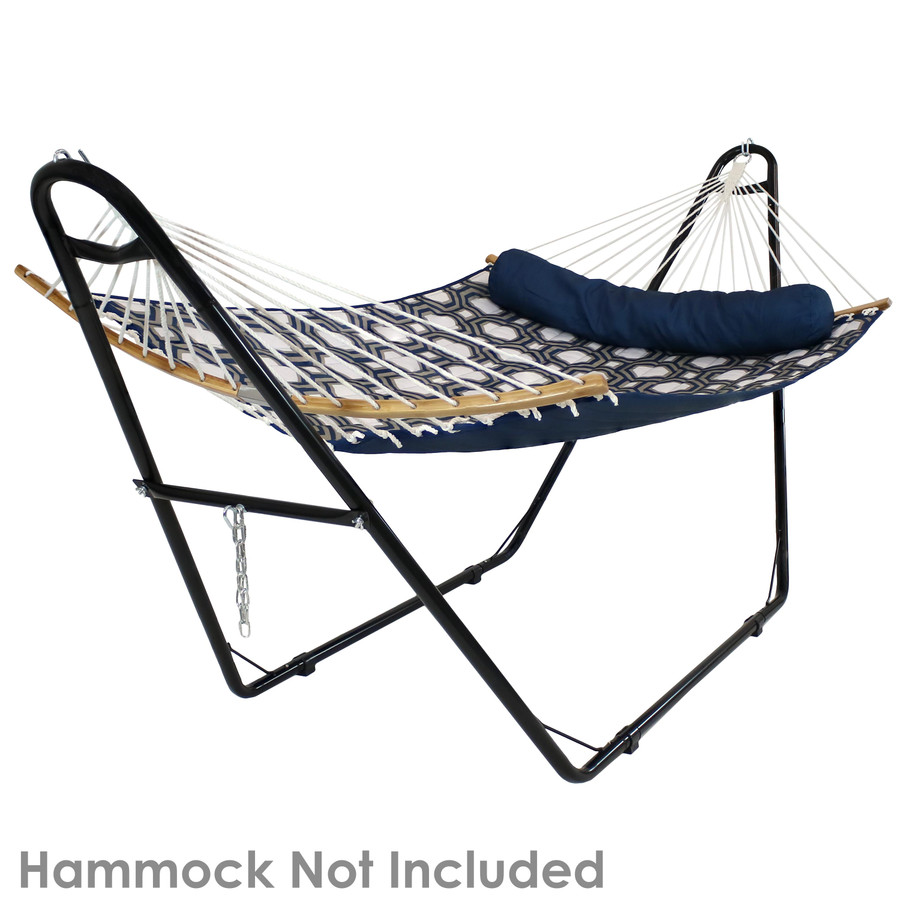 Black stand shown with spreader bar hammock. Hammock not included.