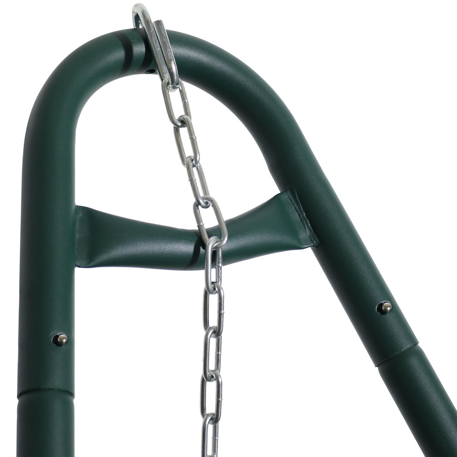 Closeup of S-Hook and Chains on Green Stand