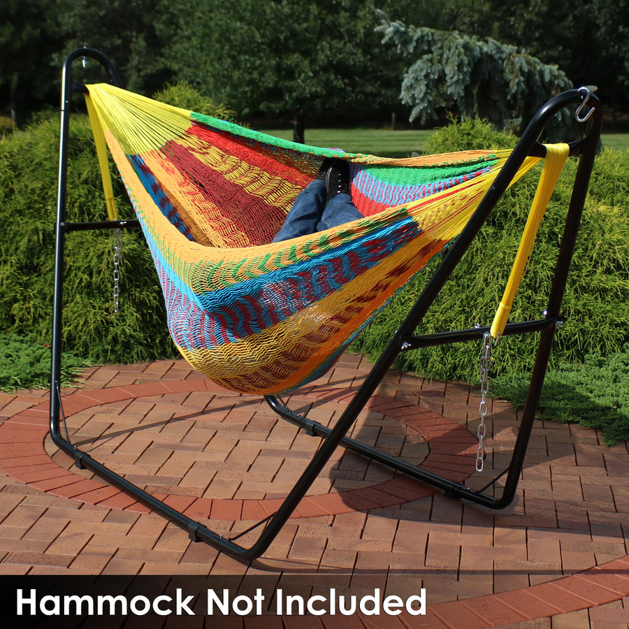 Universal Multi-Use Heavy-Duty Steel Hammock Stand Shown with Mayan Hammock, Black (Hammock Not Included)