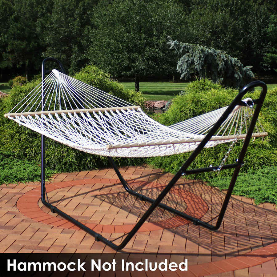 Universal Multi-Use Heavy-Duty Steel Hammock Stand Shown with Rope Hammock, Black (Hammock Not Included)