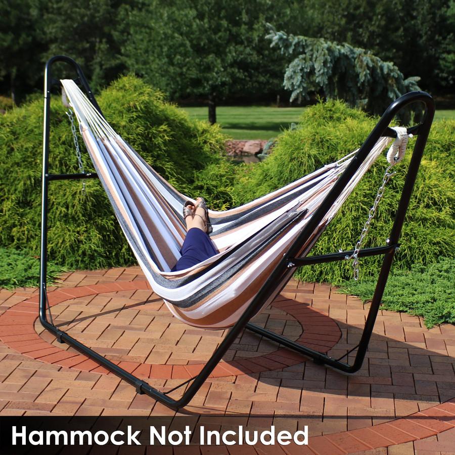 Universal Multi-Use Heavy-Duty Steel Hammock Stand Shown with Brazilian Hammock, Black (Hammock Not Included)
