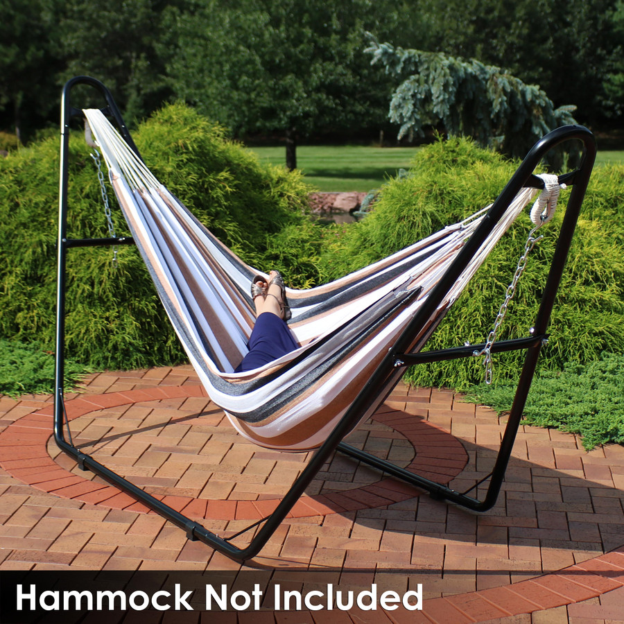 Universal Multi-Use Heavy-Duty Steel Hammock Stand Shown with Brazilian Hammock, Black (Hammock Not Included)