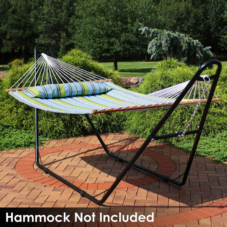 Universal Multi-Use Heavy-Duty Steel Hammock Stand Shown with Spreader Bar Hammock, Black (Hammock Not Included)