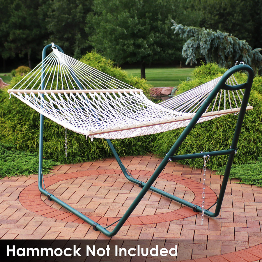 Universal Multi-Use Heavy-Duty Steel Hammock Stand Shown with Rope Hammock, Green (Hammock Not Included)