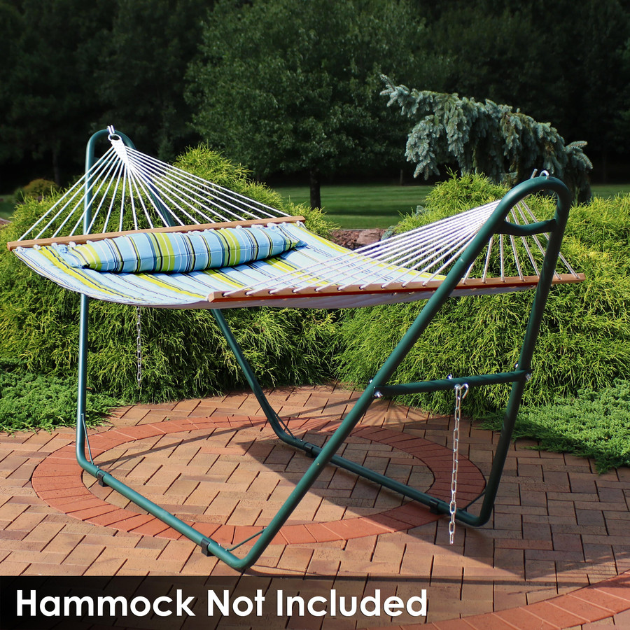 Universal Multi-Use Heavy-Duty Steel Hammock Stand Shown with Spreader Bar Hammock, Green (Hammock Not Included)