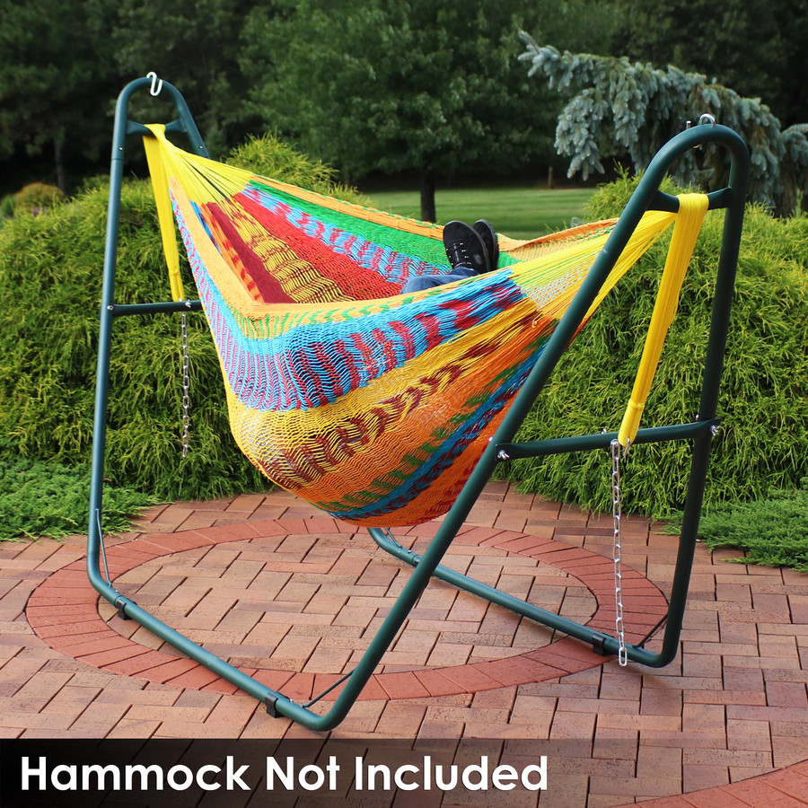 Universal Multi-Use Heavy-Duty Steel Hammock Stand Shown with Mayan Hammock, Green (Hammock Not Included)