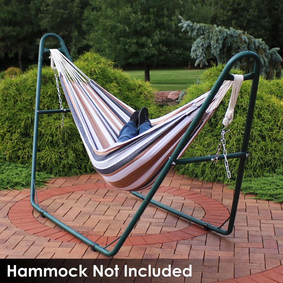 Universal Multi-Use Heavy-Duty Steel Hammock Stand Shown with Brazilian Hammock, Green (Hammock Not Included)