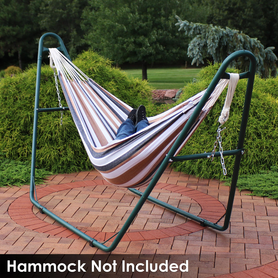 Universal Multi-Use Heavy-Duty Steel Hammock Stand Shown with Brazilian Hammock, Green (Hammock Not Included)