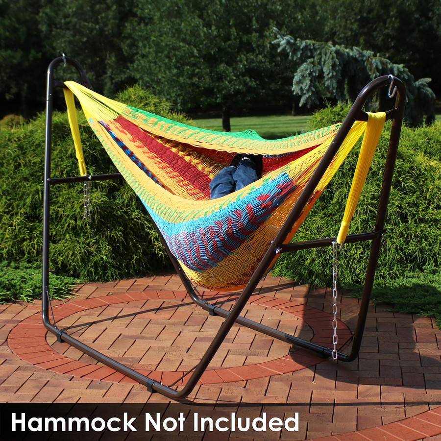 Universal Multi-Use Heavy-Duty Steel Hammock Stand Shown with Mayan Hammock, Bronze (Hammock Not Included)