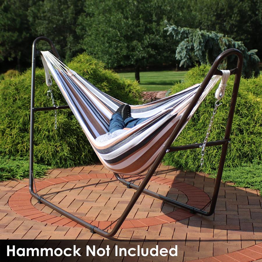Universal Multi-Use Heavy-Duty Steel Hammock Stand Shown with Brazilian Hammock, Bronze (Hammock Not Included)