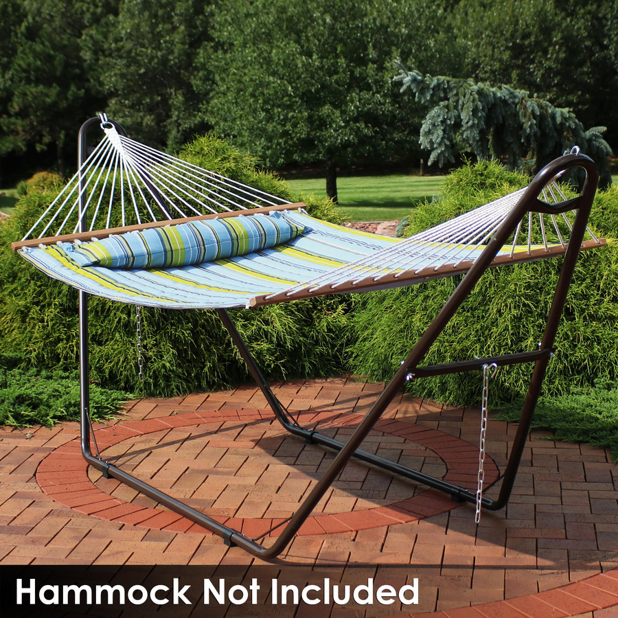 Universal Multi-Use Heavy-Duty Steel Hammock Stand Shown with Spreader Bar Hammock, Bronze (Hammock Not Included)