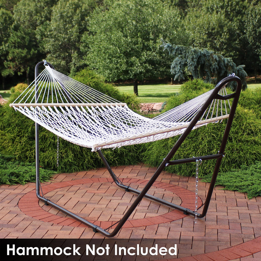 Universal Multi-Use Heavy-Duty Steel Hammock Stand Shown with Rope Hammock, Bronze (Hammock Not Included)