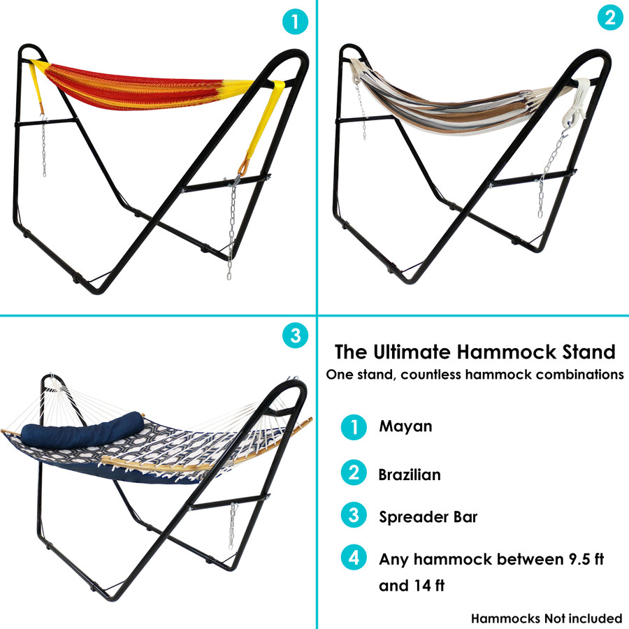 Universal Multi-Use Heavy-Duty Steel Hammock Stand, Black Infographic