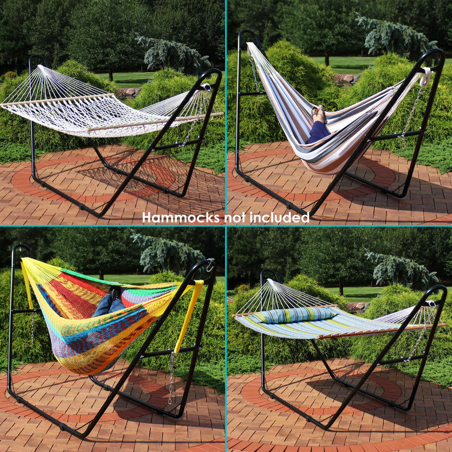 Black Stand Shown with Different Styles of Hammocks