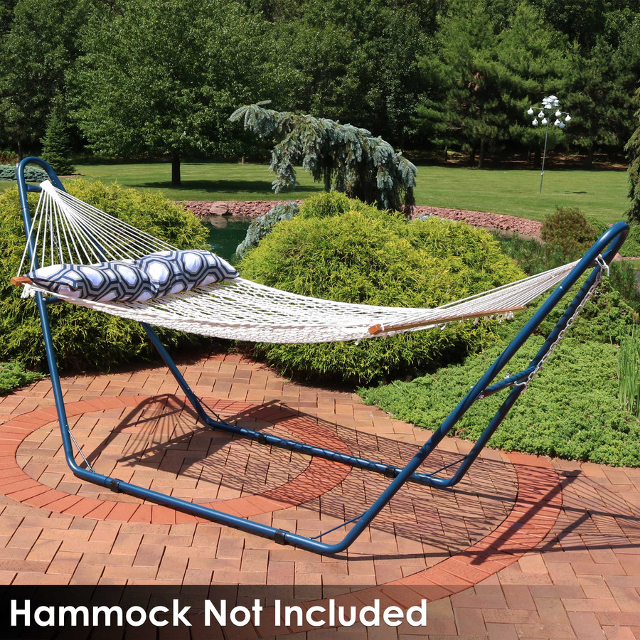Universal Multi-Use Heavy-Duty Steel Hammock Stand Shown with Rope Hammock, Blue (Hammock Not Included)