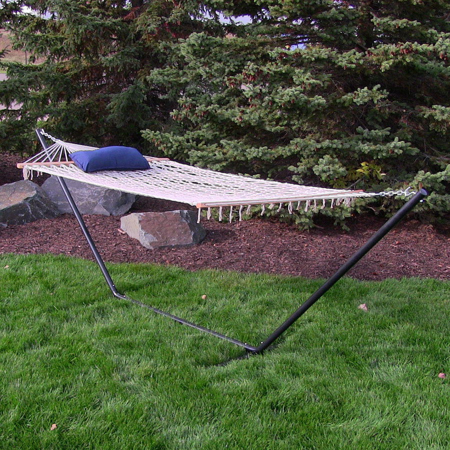 Sunnydaze Lakeview Cotton Rope Hammock with 12 Foot Steel Stand, Pad and Pillow, 275 Pound Capacity