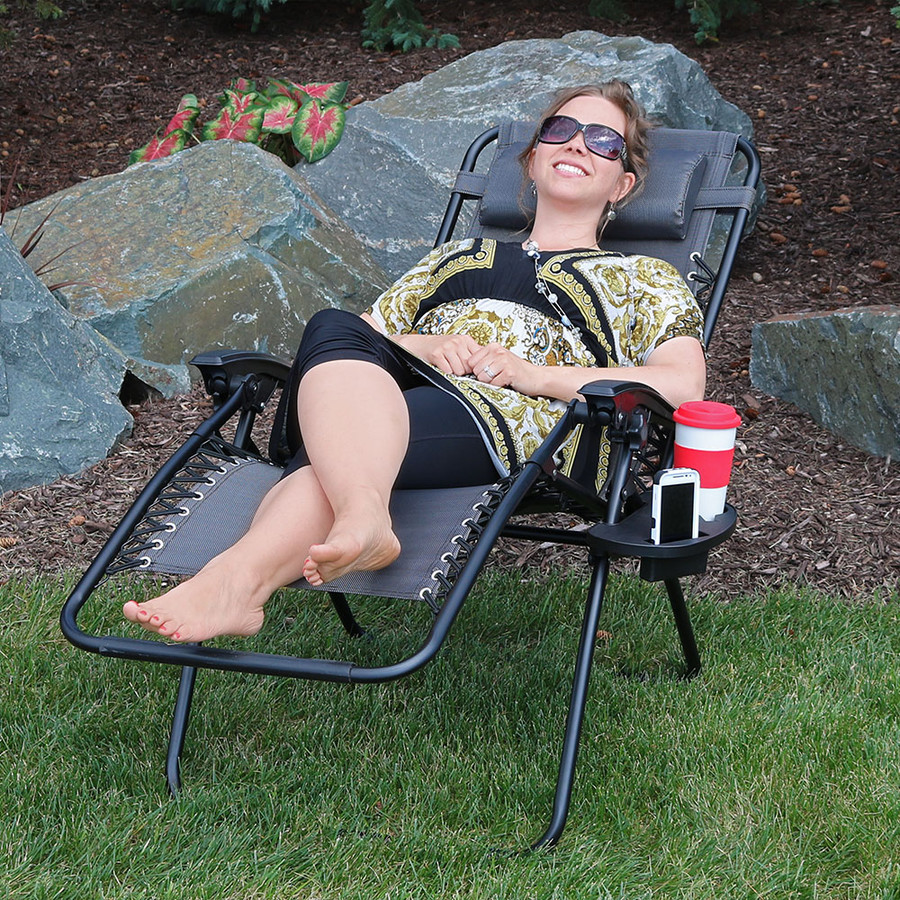 Sunnydaze Zero Gravity Chair with Pillow and Cup Holder