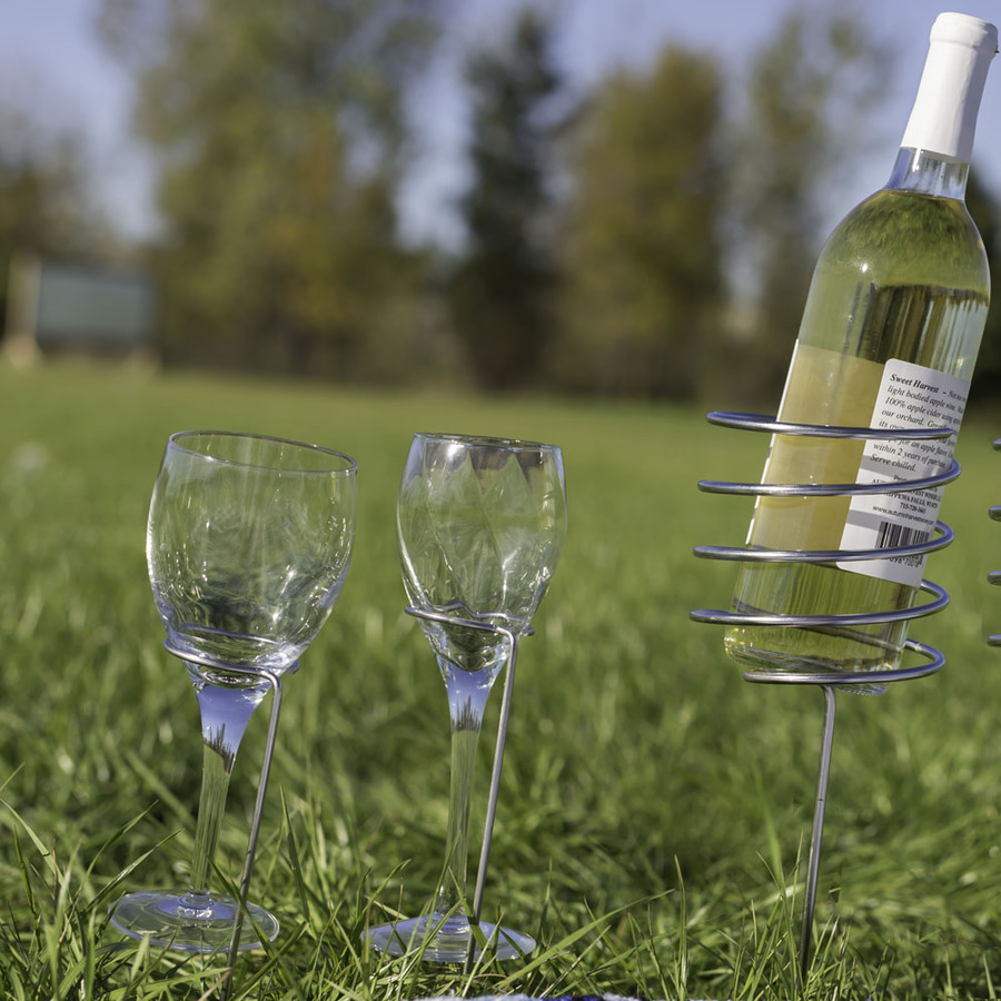 Outdoor Set of 1 Wine Bottle Holder and 2 Glass Holders