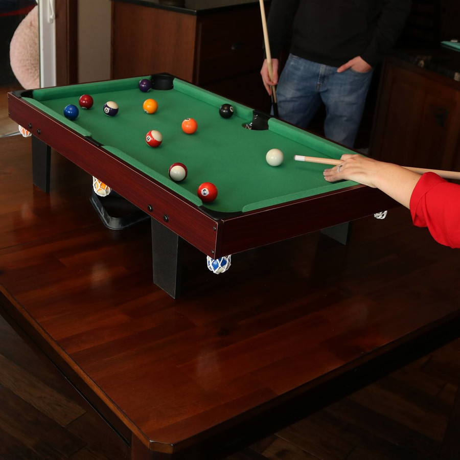 36-Inch Mini Tabletop Pool Table with Triangle, Balls, Cues, Chalk and Brush