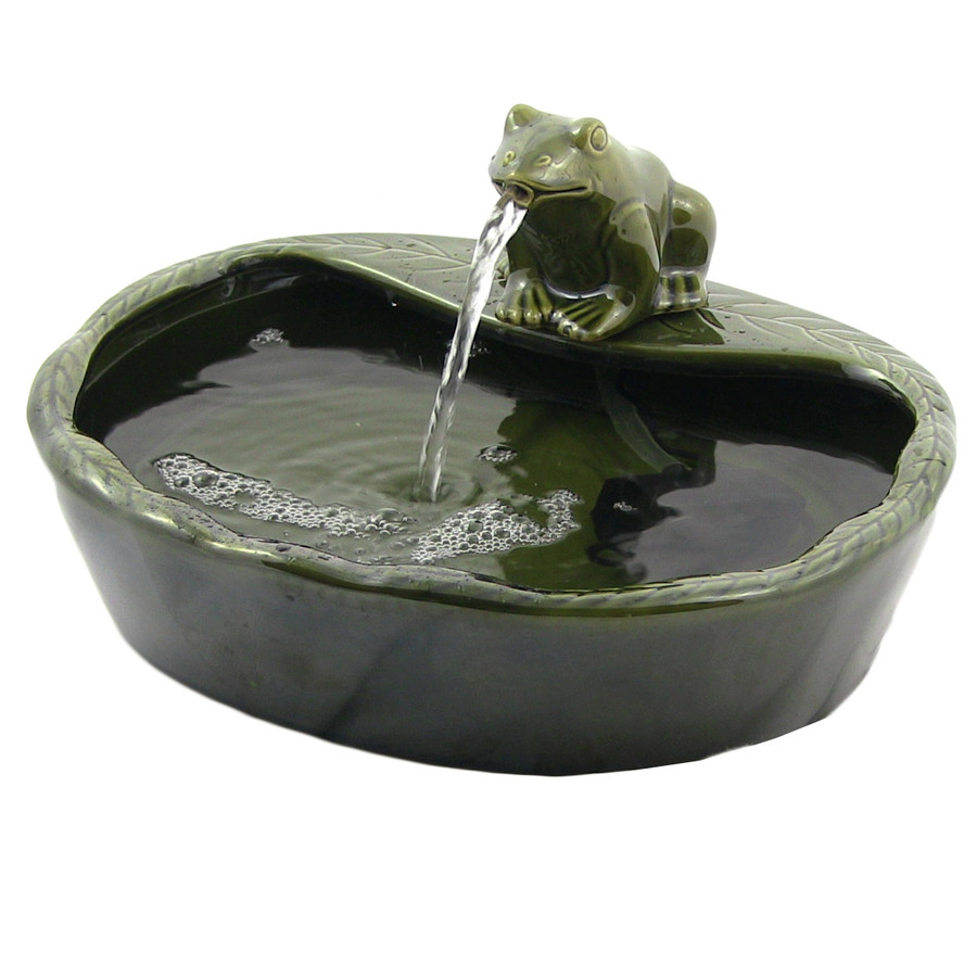 Ceramic Solar Frog Outdoor Water Fountain