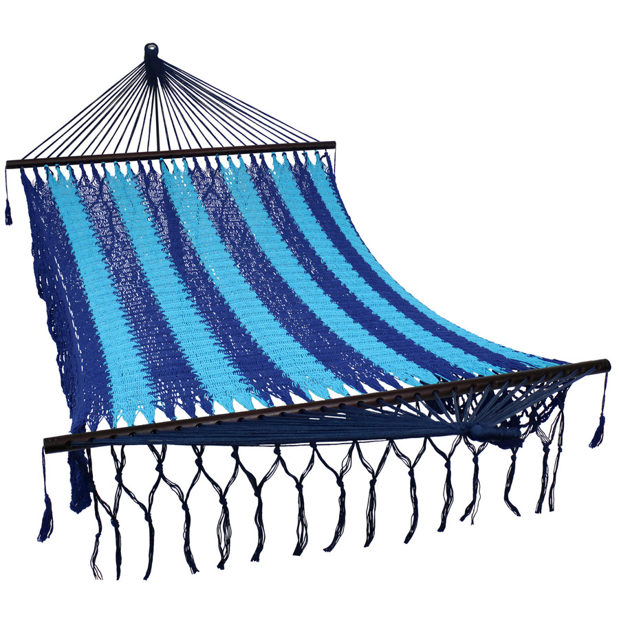 DeLuxe American Style 2 Person Hammock with Spreader Bars, Blue