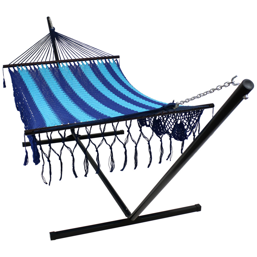 DeLuxe American Style 2 Person Hammock with Spreader Bars and 15 Foot Hammock Stand, Blue