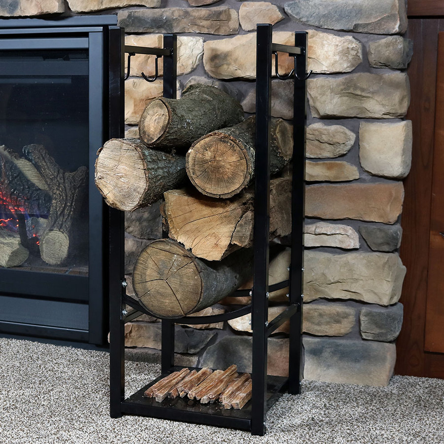 Black Indoors with Logs