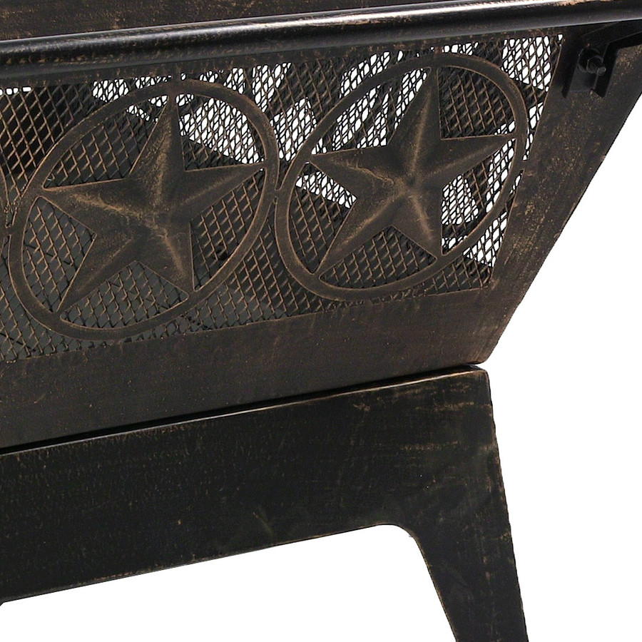 Sunnydaze 32 Inch Square Northern Galaxy Fire Pit with Cooking Grate and Spark Screen