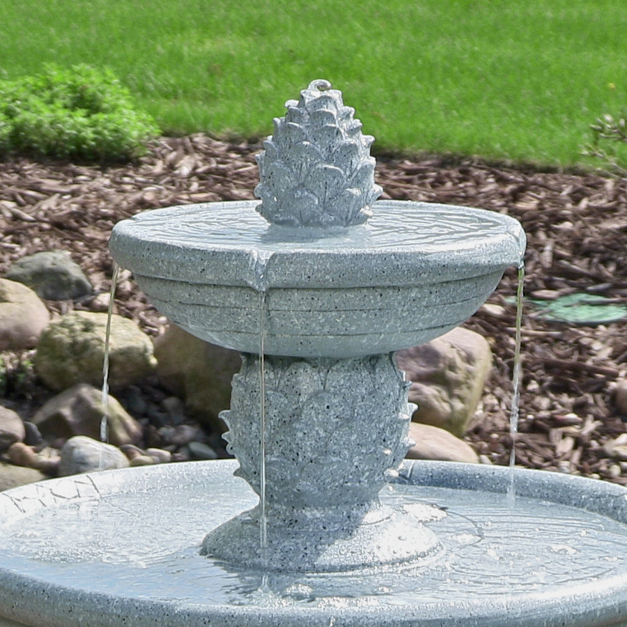Top of Dual Pineapple Tiered Fountain with LED Lights