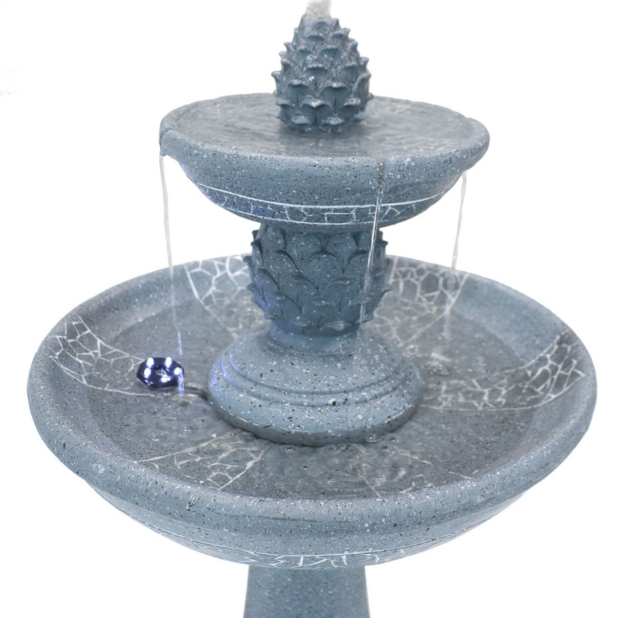 Top View of Dual Pineapple Tiered Fountain with LED Lights
