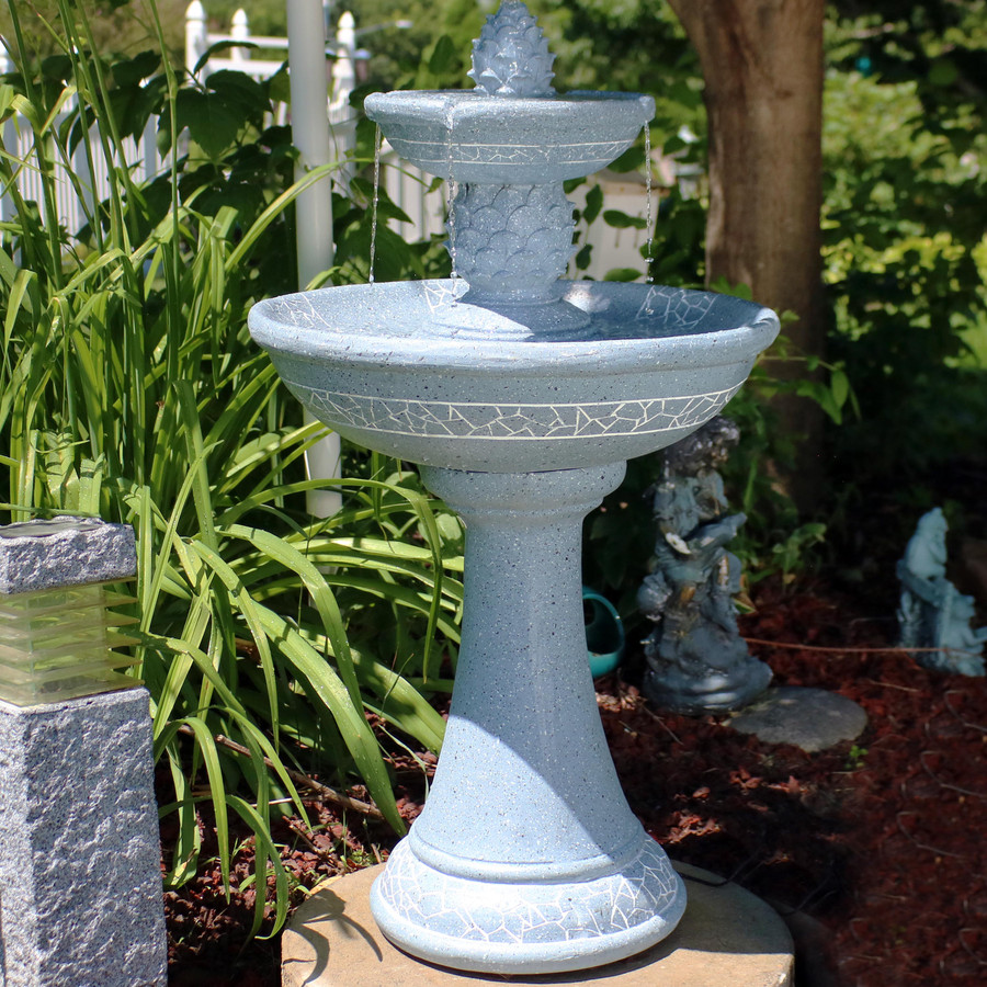 Sunnydaze Dual Pineapple Tiered Solar with Battery Backup Fountain with LED Lights, 34 Inches Tall