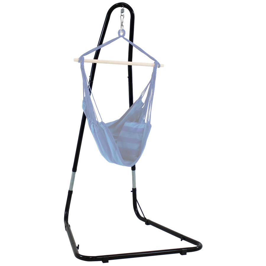 Adjustable Heavy-Duty Hammock Chair Stand Shown with Hammock Chair (NOT Included)