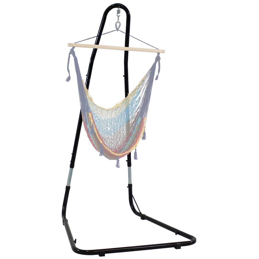 Adjustable Heavy-Duty Hammock Chair Stand Shown with Hanging Hammock Chair (Hammock Chair NOT Included)