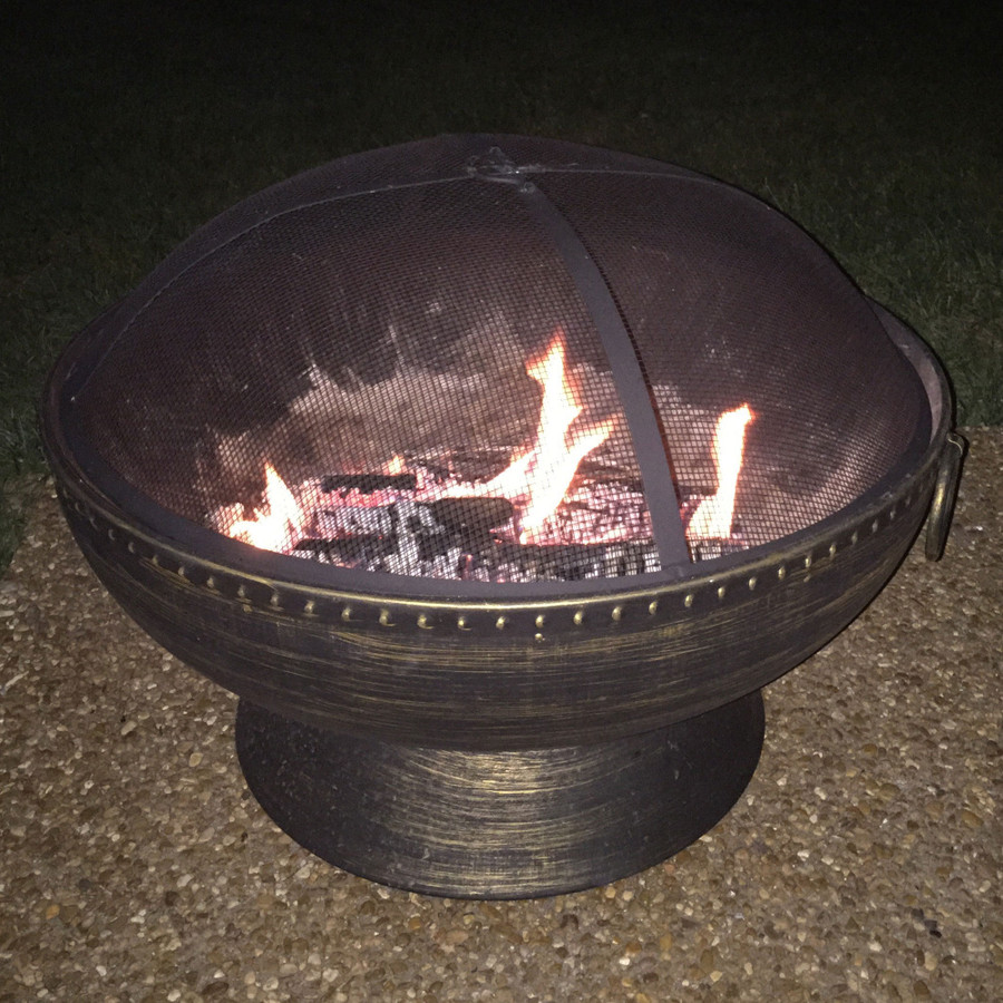 Sunnydaze 30 Inch Royal Firebowl Fire Pit with Handles and Spark Screen