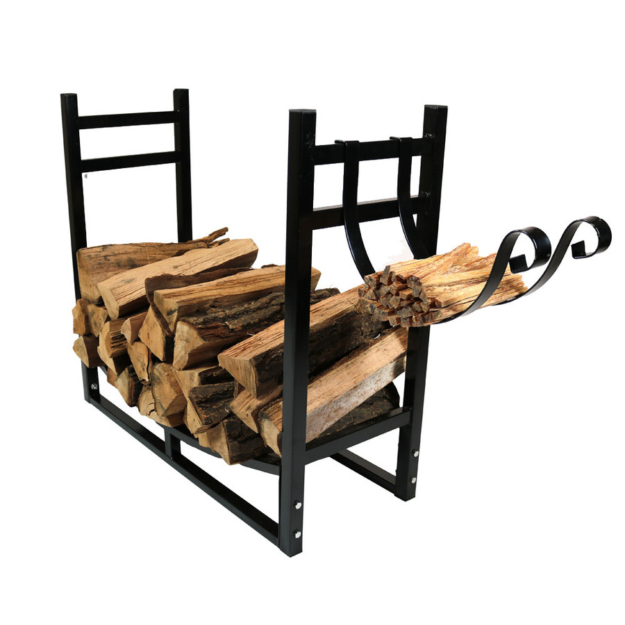 Black Rack with Kindling Holder Facing Out