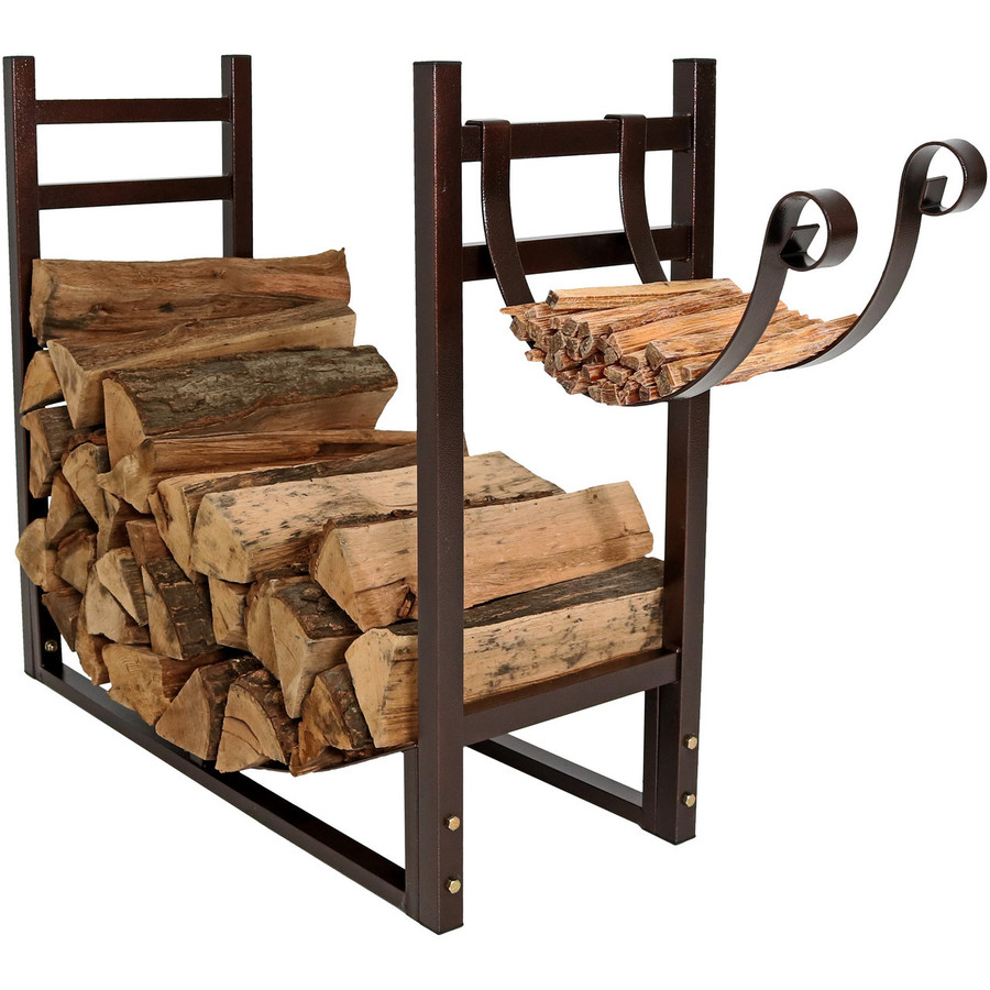 Bronze Rack with Kindling Holder Facing Out