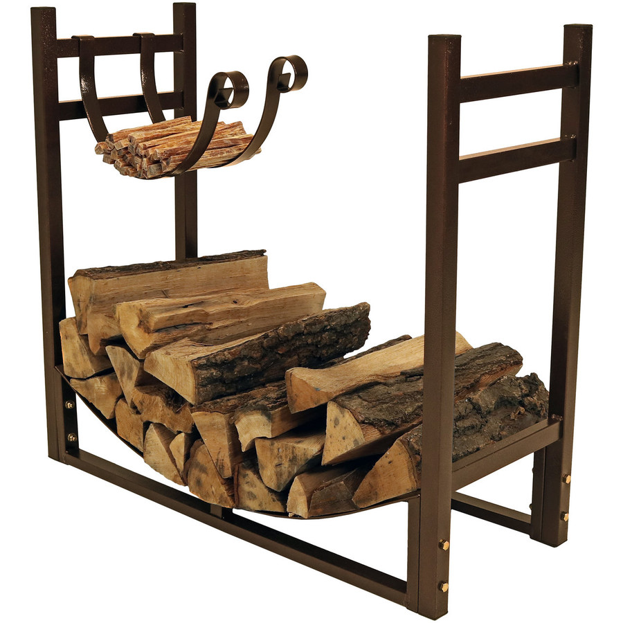 Bronze Rack with Kindling Holder Facing In
