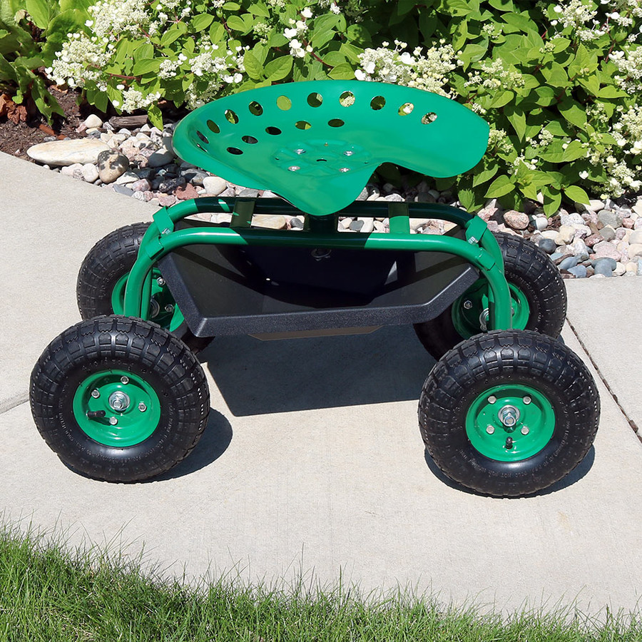 Green Rolling Garden Cart with 360 Degree Swivel Seat & Tray