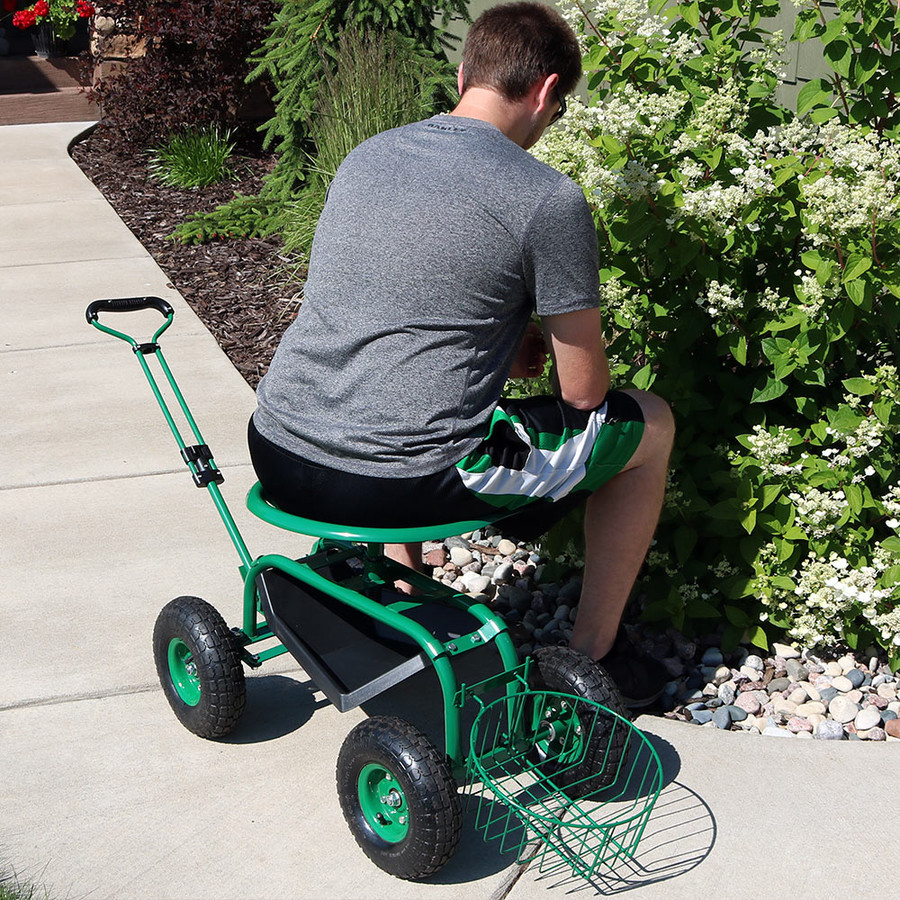 Green Rolling Garden Cart with Extendable Steering Handle, Swivel Seat & Planter Basket