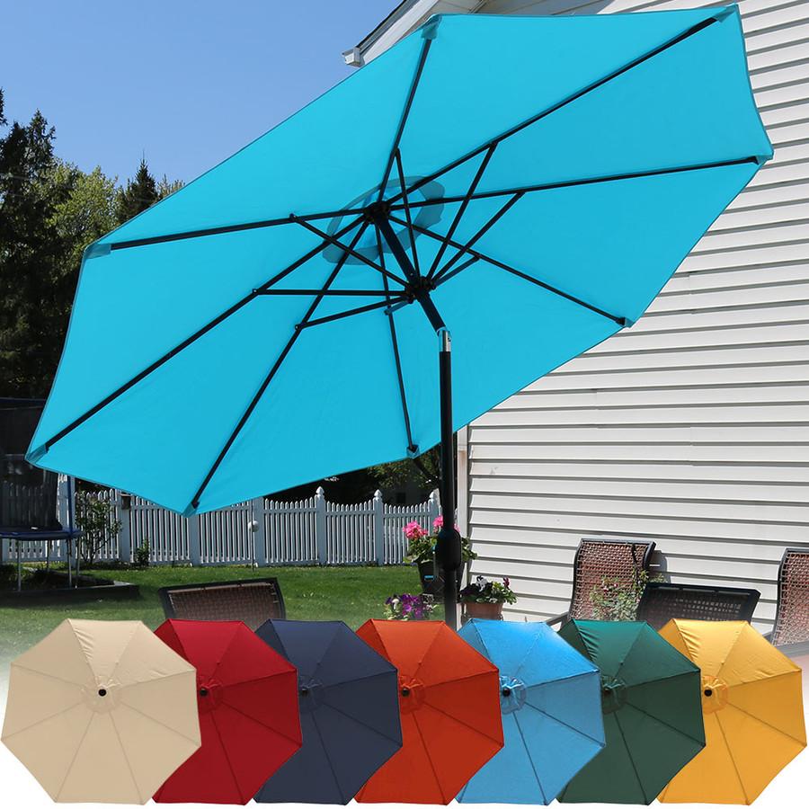 Sunnydaze Aluminum 9 Foot Patio Umbrella with Tilt & Crank