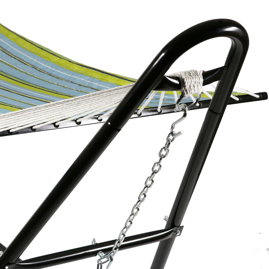 Sunnydaze Quilted Double Fabric 2-Person Hammock with Multi-Use Universal Steel Stand, Blue and Green, 450 Pound Capacity
