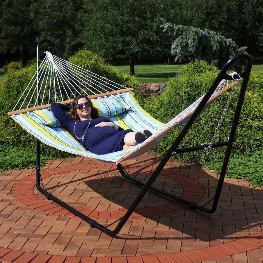 Blue and Green Quilted Hammock with Multi-Use Stand