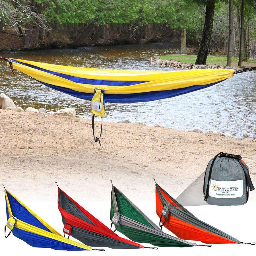 Sunnydaze Portable Double Camping Parachute Hammock, Lightweight Nylon
