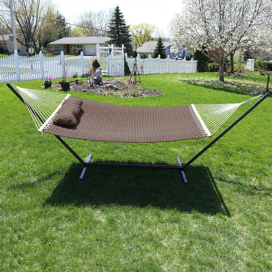 Sunnydaze Quilted Designs Double Fabric 2 Person Hammock with Spreader Bars and Pillow