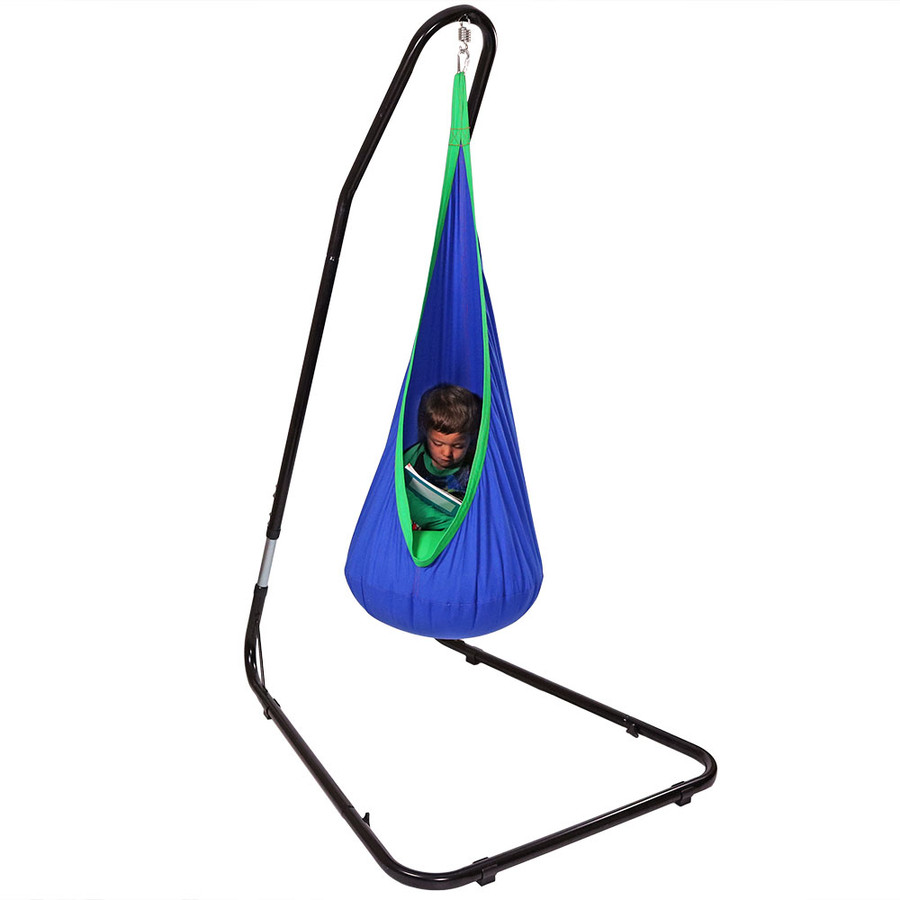 Blue with Adjustable Hammock Chair Stand