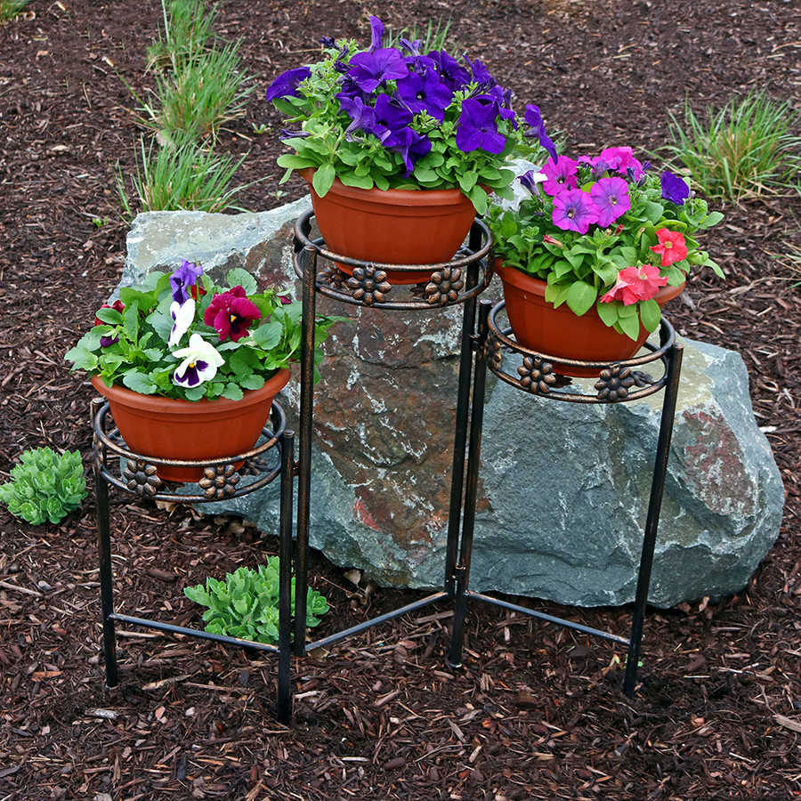 3-Tier Plant Stand Outdoors