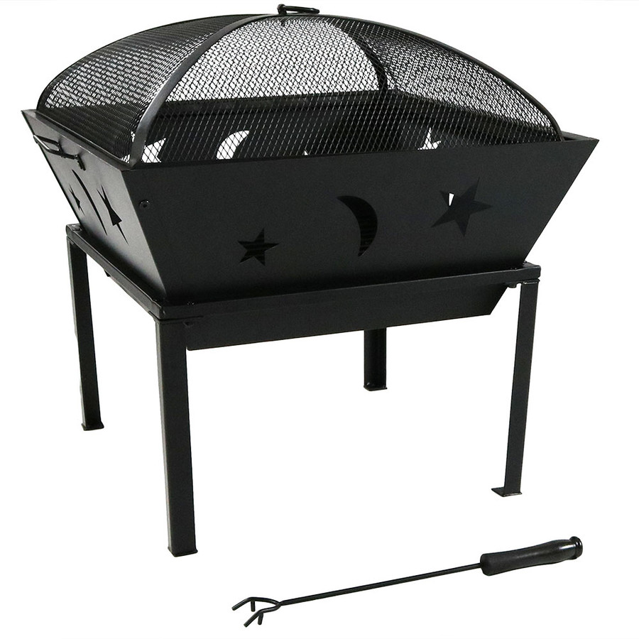Sunnydaze 22 Inch Outdoor Square Stars and Moons Fire Pit with Spark Screen