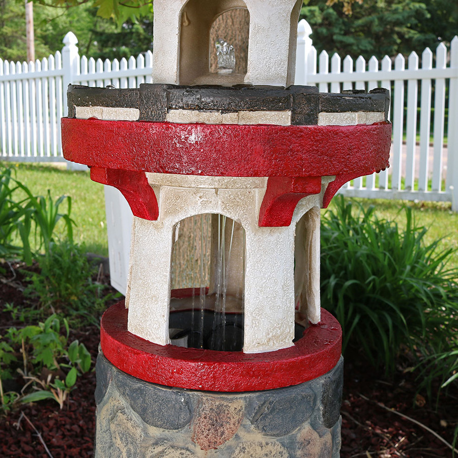 Sunnydaze Classic Stonework Lighthouse Outdoor Water Fountain with LED Light, 38 Inch Tall
